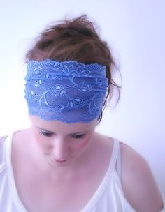 Wide Bdazzled BLUE hairband Stretch Lace by stunninglooks on Etsy, €7.00