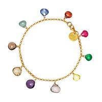 Briolette bracelet gold plated brass