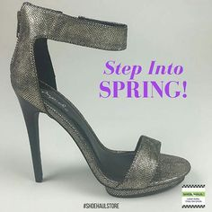 NEW ARRIVAL: Step into Spring in this beauty! Pewter stiletto with small platform under the toe. Zip back ankle strap. Simple, elegant, and on the shelves now! #shoehaulstore #shoehaul #pumps #wpbshopping #jitg11