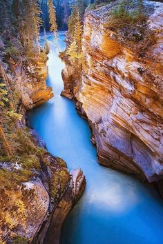 Athabasca Falls At Dusk, Jasper, Alberta, Canada.