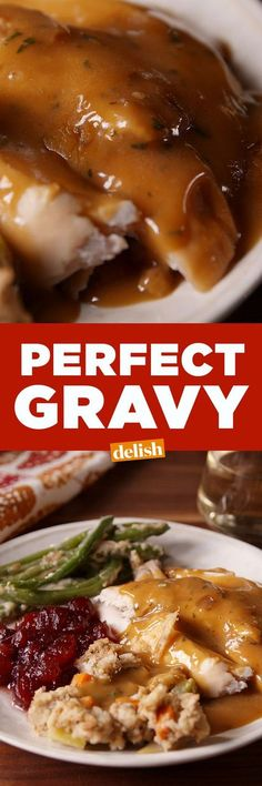 Gravy Our Perfect Gravy will make your turkey taste better.Our Perfect Gravy will make your turkey taste better. Perfect Gravy Recipe, Easy Gravy Recipe, Thanksgiving Gravy, Thanksgiving Recipes, Turkey Recipes, Dinner Recipes, Sauce Recipes, Cooking Recipes, Soul Food