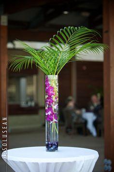 """palm tree"" centerpiece w/purple orchids (photo by Resolusean) #branchesfloralstudio"