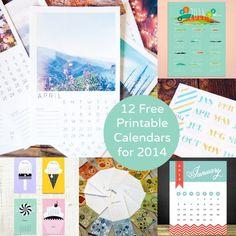 12 Free Printable Calendars for 2014 - diycandy.com