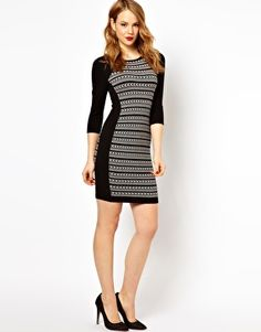Karen Millen Knitted Dress with Tribal Stripe and 3/4 Sleeves