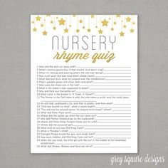 Hey, I found this really awesome Etsy listing at https://www.etsy.com/ca/listing/201552823/nursery-rhyme-quiz-baby-shower-game-gold