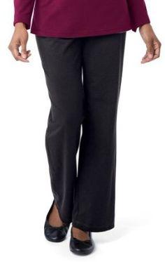 Collections Etc - Versatile Straight Leg Black Knit Pant Womens Black 2X 2X Black Samanthas Style Shoppe. $9.97