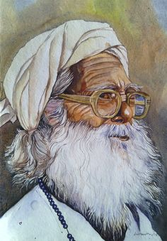 The Old Man in Painting by Hosain Ahmed