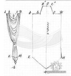 Drapery pattern- for back of my yoke/ren sleeve coverlet Window Drapes, Curtains With Blinds, Window Coverings, Drapes Curtains, Window Treatments, Valances, Swags And Tails, Rideaux Design, Drapery Designs