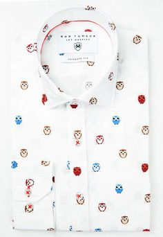 Slim Fit Cotton Multi Owl Shirt Owl Shirt, Mens Joggers, Designer Clothes For Men, Blazers For Men, Nice Tops, Fashion Forward, Slim, Fashion Outfits, Shirt Dress