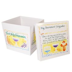This Sacraments keepsake box is a good size for holding all those special mementos from Baptism, to First Reconciliation, to First Communion, to Confirmation. Great for storage in the bedroom closet as a reminder of a child's forever relationship to the Church.