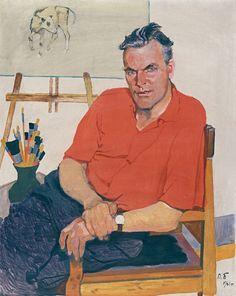 The Leningrad School of Painting - Piotr Buchkin. Portrait of artist Piotr Vasiliev. 1960.