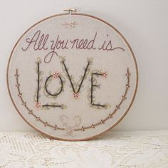 all you need is love, romantic embroidered wall art by Monkey & Squirrel