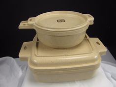 Littonware Microwave Cookware 1 Qt Square and Lid AND 2 Cup Round and Lid EUC #Littonware