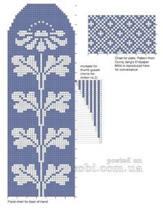 """Photo from album """"Pirstines"""" on Yandex. Knitted Mittens Pattern, Fair Isle Knitting Patterns, Bead Loom Patterns, Knitting Charts, Knit Mittens, Knitting Stitches, Knitting Socks, Cross Stitch Patterns, Knit Stitches"""