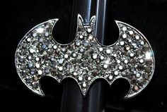 Batman Stretch Ring Crystal Rhinestones Charcoal Gray Cluster Gothic Punk Fashion