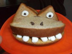 monster sandwich/maybe try with boiled eggs for the teeth! lol  oh wait ...icing for a cinnamon toast sandwich...?