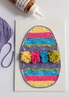 Osterkarten mit den Kindern basteln mit Kleber, Papier und Garn. Noch mehr Ideen gibt es auf www.Spaaz.de