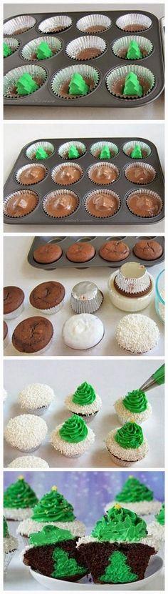 Cheesecake Stuffed Christmas Tree Cupcakes | Cookboum