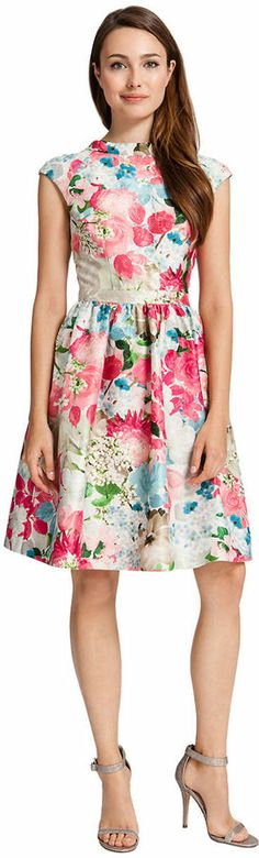 Cynthia Steffe Floral-Print High-Neck Dress - POPART print so on trend and classic shape too <3
