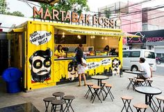 Popular spot: The current talk of the town is Martabak Boss, in Menteng Central Jakarta, which offers fillings ranging from classic to voguish to ou. Container Restaurant, Container Shop, Container Design, Food Cart Design, Food Truck Design, Kiosk Design, Cafe Design, Frites Restaurant, Coffee Food Truck