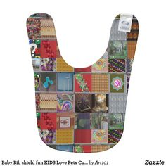 Baby Bib shield fun KIDS Love Pets Cute Honey gift
