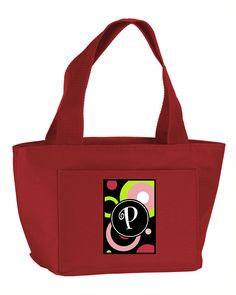 Letter P Monogram - Retro in Black Zippered Insulated School Washable and Stylish Lunch Bag Cooler AM1002-P-RD-8808