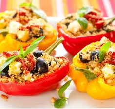 Mediterranean peppers with couscous and feta- Mediterrane Paprika mit Couscous und Feta Stuffed peppers with couscous and feta - Gf Recipes, Gluten Free Recipes, Healthy Recipes, Easy Recipes, Healthy Dishes, Skinny Recipes, Healthy Meals, Dinner Recipes, Gluten Free Diet