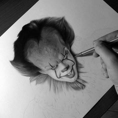 Pennywise - It Wip. Celebrities Drawn in Realistic Portraits. By Aleexart Realistic Rose, Realistic Drawings, Love Drawings, Easy Drawings, Pen Drawings, Horror Drawing, Horror Art, Scary Clowns, Creepy