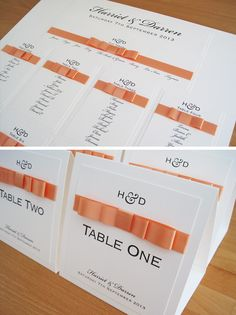 Monogram Ribbon Table Plan and Table Markers in white and peach.