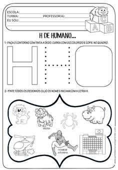 A Arte de Ensinar e Aprender: Atividade letra H