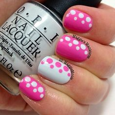 pink & white polka dots nails, love it! Looks easy but super cute! Get Nails, Love Nails, Pretty Nails, Hair And Nails, Dot Nail Art, Polka Dot Nails, Polka Dots, Nagel Gel, Fabulous Nails