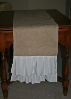 Burlap table runner. Cute!