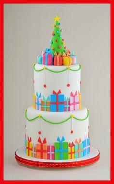 Christmas Parcel Cake - by Sandra Monger @ CakesDecor.com - cake decorating website