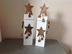 Weihnachtsfiguren - Holzpfosten Set Sterne Weihnachtsdeko - ein Designerstück von FlotterFaden bei DaWanda