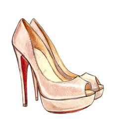"Pink Christain Louboutin ""Lady Peep"" Pumps Art Print, Christian Louboutin Shoes, Watercolor Fashion Illustration Print. $10.00"