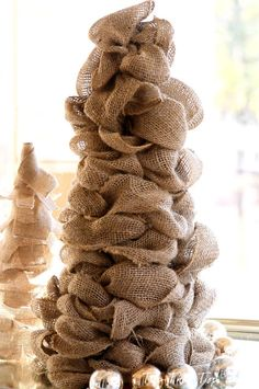 Top This Top That: Easy DIY Burlap Trees for the holidays .... Maybe add some red and green patterned burlap ribbon also...