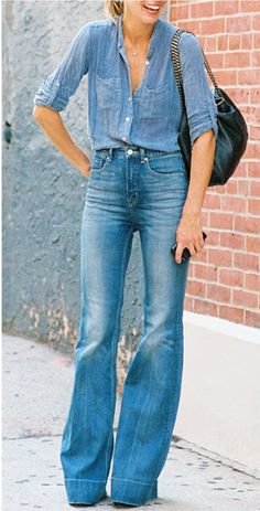 Wearing High-Waisted Flares Like a French Girl