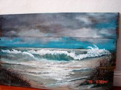 Reclaimed Wood Wall Art Seascape Ocean Beach Painting Made To Order Original Hand Painted