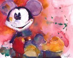 Mickey Mouse in Red - Disney Art PRINT from Original Watercolor Page Size 8.5 x 11 or Page 11 x 14 by dfrdesign on Etsy https://www.etsy.com/listing/179293441/mickey-mouse-in-red-disney-art-print
