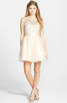 Sean Collection Beaded Bodice Fit & Flare Dress available at #Nordstrom @dittpete THE CREME ONE OR THE NAVY ASHGLSKTOSUI