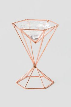 Glass Tea Light Holder with Copper Stand 5.5