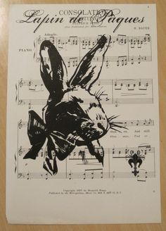 french market french bunny on vintage sheet music by OkioBDesigns