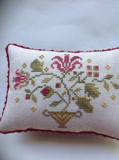 Red floral cross stitched pin cushion/pillow/bowl filler by