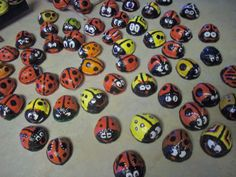 Ladybug march. Hand painted walnut shells. Over 100 of them so far. by Brent Searle