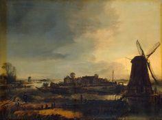 Aert van der Neer - Landschap met molen (1647)