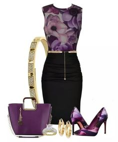 Classy outfit for a party, wedding, prom, events or business attire Set in purple Business Mode, Business Outfits, Business Attire, Business Fashion, Classy Outfits, Chic Outfits, Fashion Outfits, Womens Fashion, Fashion Trends