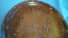 American Eagle Bicentennial Indiana Glass Co Marigold Carnival Glass Plate by TheCelticBelle on Etsy