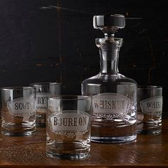 Old Fashioned Deep Etched Whiskey Decanter & Glass Set at Wine Enthusiast - $179.95