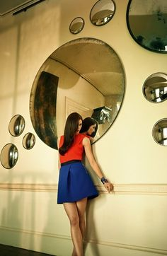 Ted Baker London Zip Pocket Skater Skirt. I just care about the mirrors!