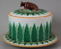 I want a cheese dome and stand and a Palisy plate and then I will stop collecting Majolica!    George Jones Majolica cow cheese dome & stand